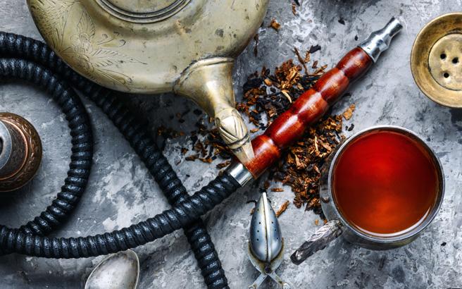 Hookah smoking with tea