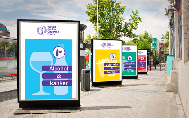 WCRF posters on display in a public space