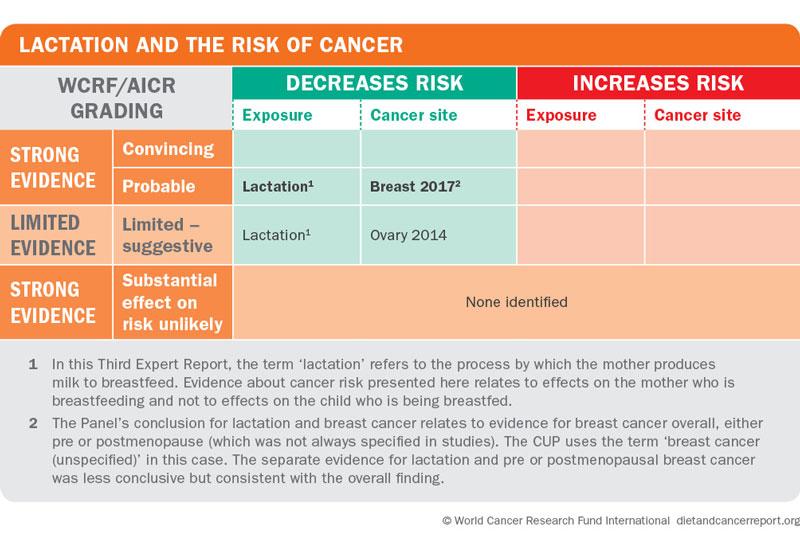 Lactation and risk of cancer matrix