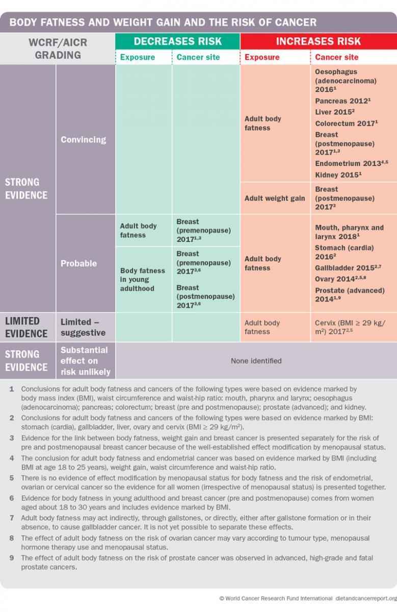 Body fatness cancer risk matrix