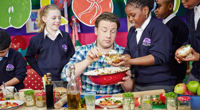 Jamie Oliver with school children