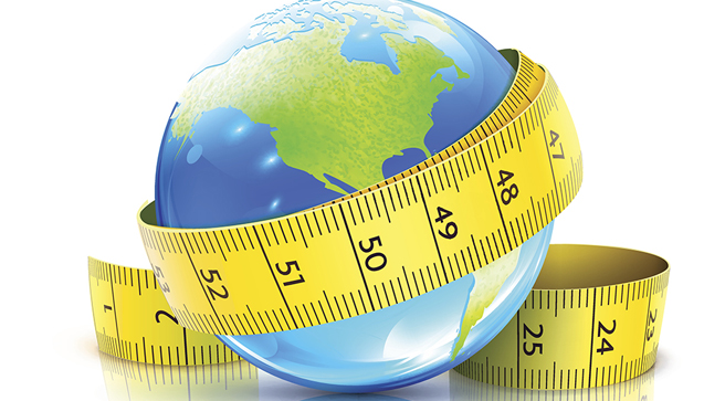 Illustration of the globe with a measuring tape wrapped around it