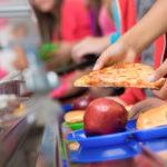 School children getting school dinners