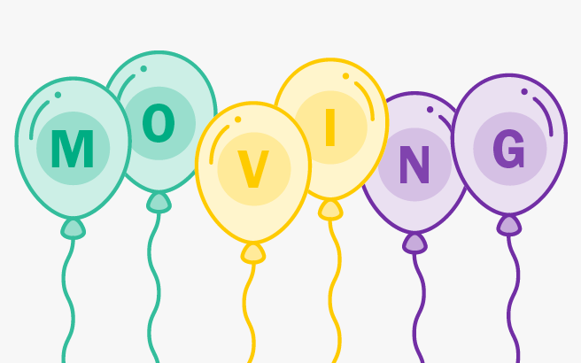 Balloons spelling out the word MOVING
