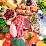 A selection of meat, eggs, fish, fruit and vegetables
